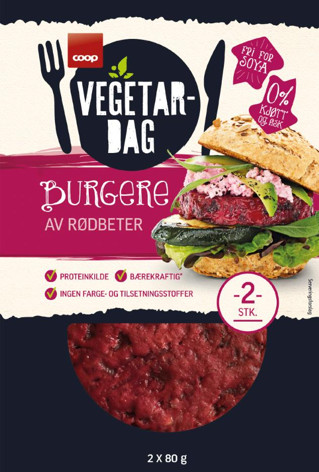 Vegetarburger med rødbeter