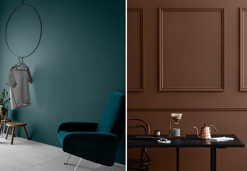 2af93548 DEMPET OG DELIKAT: Selv helt mørke farger som 5454 Dark Teal og 10981  Norwegian Wood blir ikke for mye når nyansene er så elegante. (Foto: Line  Klein/Jotun ...