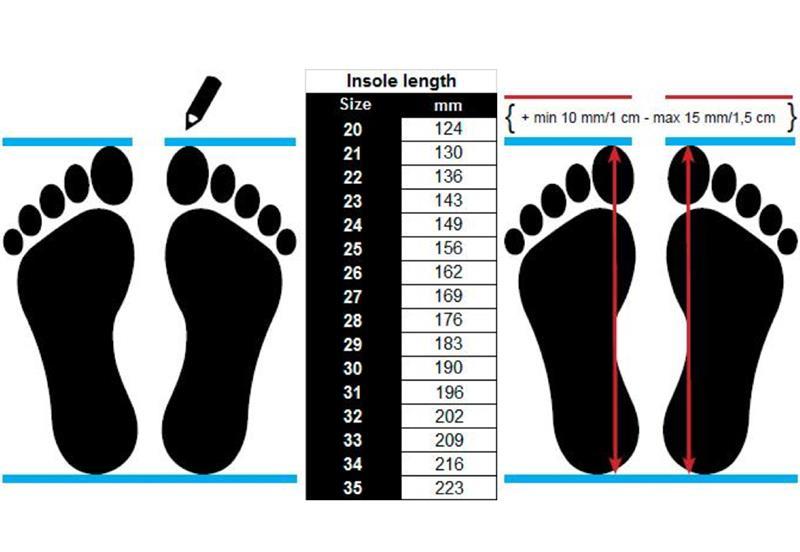 Hvordan bestemme størrelsen på sko til barn. Størrelsen på